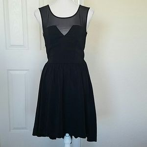 H&M hi-lo mock-neck black chiffon dress